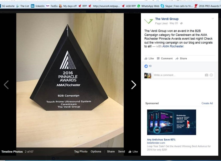Pinnacle award Verdi Ultra sound machine